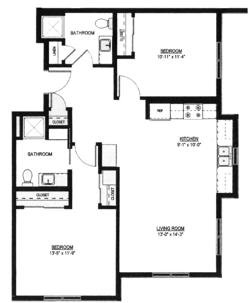 Floor Plans at The Gardens of Hartford, the two bedroom, two bath layout