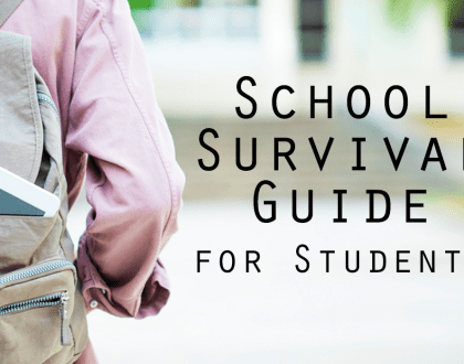 """backpack with a tablet sticking out of it and the words """"School Survival Guide for Students"""" next to it"""