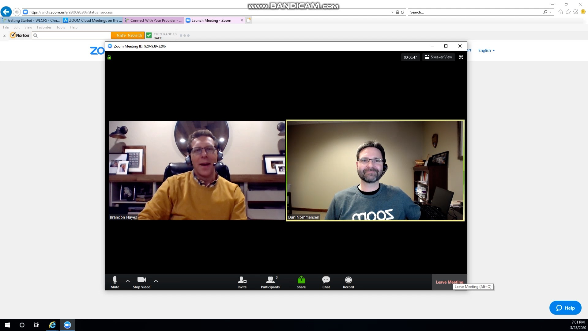 Picture of connecting with counselor through Zoom
