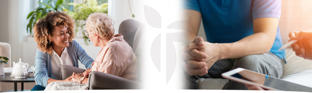 Intensive care header image, composite of two images, one with a man in a counseling session on the right and the other with a home care worker gripping the hand of an elderly woman on the left